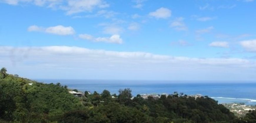 A vendre beau terrain plat 960m², Punaauia, (vue mer, hors lotissement)