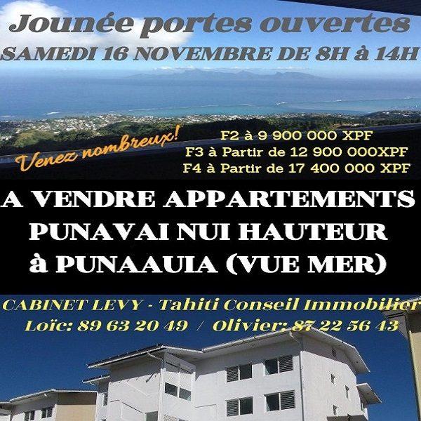 A vendre Plusieurs appartements hauteurs Punavai nui, à Punaauia – Journée Portes ouvertes le Samedi 16 Novembre de 8H à 14H